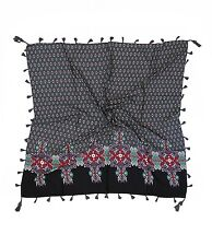 KW Fashion Women's Ethnic Floral Square Scarf with Tassels