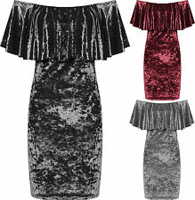 Womens Plus Crushed Velour Party Dress Ladies Tiered Off Shoulder Bardot Velvet