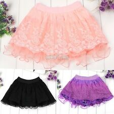 Spring Summer Fashion Kids Girl's Candy Color 3 Layers Lace Cake Skirt S0BZ