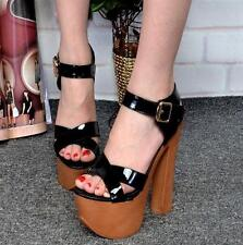 Hot Womens Platform Block High Heels chunky Ankle Strap Sandals club prom Shoes