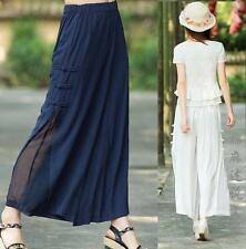 Chinese Style Womens Casual Trousers loose Wide-Leg Pants Cotton Linen cropped