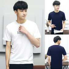 Summer Men Letter Short Sleeve Chic T-shirt Ice Silk Crew Plus Size Pullover G
