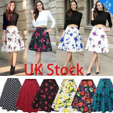 Vintage Retro 50s Full Circle Rockabilly Jive A Line Swing Midi Skirt Dress 8 20