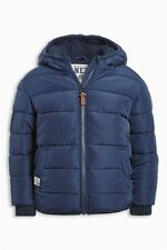 Bnwt Next Boys Padded Navy Blue Jacket Coat Fleece Lined Water Resistant 4-5-6