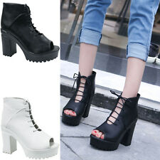 Womens Ladies Summer Block High heels Cut out Lace UP Ankle Party Boots Shoes G
