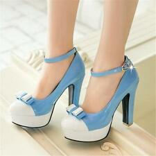 Womens Ankle Strap Platform Patent Leather High Heels Pumps Mary Jane Shoes New