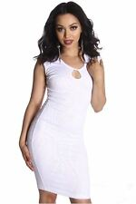 DEALZONE Stunning Lined Hole Design Dress S Small Women White Cocktail