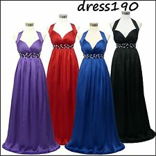 dress190 CHIFFON HALTERNECK LONG GLAMOUR MAXI PARTY PROM EVENING GOWN UK 8-24