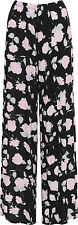 Plus Womens Floral Print Wide Leg Palazzo Trousers Ladies Pants Flared Harem