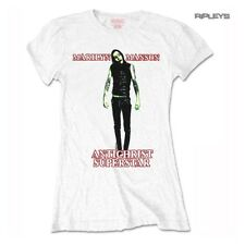 Official Ladies Skinny Marilyn Manson Goth ANTICHRIST Superstar White All Sizes