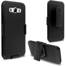 Cell Phone Belt Clip Holster Case Matte Black Rugged Shell Hard Cover Stand