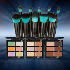 10 Face Foundation Makeup Brushes Set + 6 Color Camouflage Concealer Palette Kit