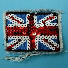 Union Jack Britain Uk Flag Sew on Embroidered Badge Patch Biker Sequin England.