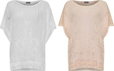 Plus Womens Cap Sleeve Floral Lace Top Short Ladies Embroidered Sequin Blouse