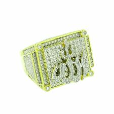 Mens Designer Allah Pinky Ring Iced Out Lab Diamonds 14K Gold Finish