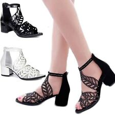 Ankle Strap Open Peep Toe Mid Block Chunky Heel Sandal Shoes Glitter Gladaitor