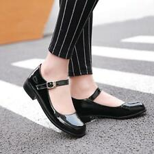 Fashion womens shoes patent leather buckle Mary Jane block heel casual casual YT