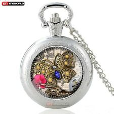 Retro Vintage Pocket Watch Chain Quartz Butterfly Necklace Antique Pendant New
