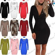 Womens Slinky Choker Neck Cowl Plunge V Neck Ladies Mini Bandage Bodycon Dress