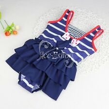 Girls Kids One Piece Swimwear Swimsuit Bather Swimming Costume Bathing Suit 1-10