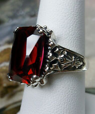 9ct *Red Ruby* Solid Sterling Silver Gothic Filigree Ring Size: {Made To Order}
