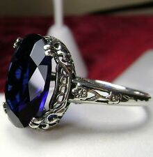 5ct Oval *Sapphire* Sterling Silver Edwardian Floral Filigree Ring Size Any/MTO