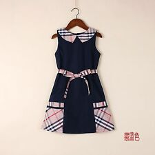 New Baby Girls Kids Children 100% Cotton Sleeveless Skirt Dress Age 4-8Y EE33