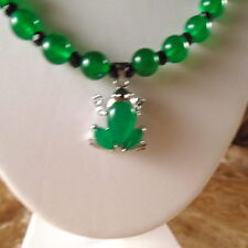 Green Jade Jewelry Set Silver Plated Frog or Butterfly  Pendant