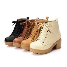 New Women's Thick Boots Boots Lace Up Yellow Beige Brown Black Ankle Boots