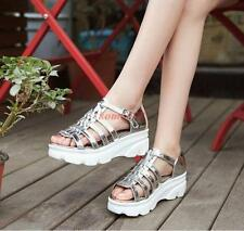 Womens Patent Leather Strappy Roman Gladiator Sandals Platform Wedge heels Shoes