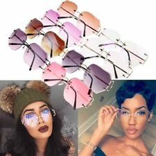 Oversized Round Rimless Sunglasses Women Fashion Optics Metal Frame Eyewear Hot