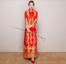 Women's Dress QiPao Cheongsam Wedding Bride Chinese Dress Evening Long Red YTK @