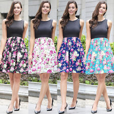 New Womens Ladies Summer Beach Cocktail Party Vintage Floral Mini Skirt Dress
