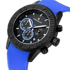Military Date Day Chronograph Watch Wrist Silicone Quartz Band Sport Men's Watch