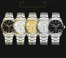 Skeleton Watch Mens Day Dial Wrist Mechanical Stainless Steel Bronze Student's