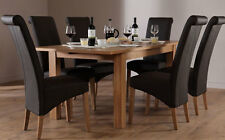 Harrison & Richmond Extending Oak Dining Room Table and 4 6 Chairs Set (Brown)
