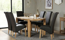 Winchester Oval Oak Dining Room Table & 4 6 Richmond Leather Chairs Set (Brown)