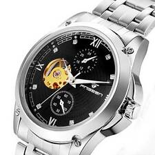 Silver Stainless Band Skeleton Wrist Automatic Watch Mechanical Roman Sport Mens