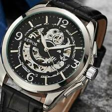 Men's Watch Stainless Case Skeleton Wrist Mechanical Automatic Leather Fashion