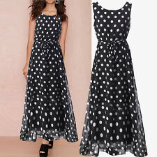 Women's Casual Sexy Summer Sleeveless Polka Dots Long Maxi Evening Party Dresses