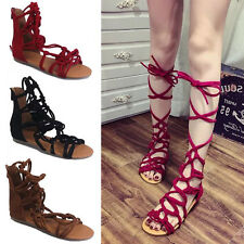 Women Strappy Gladiator Sandals Knee High Zipper Shoes Open Toe Buckle Flat Boot