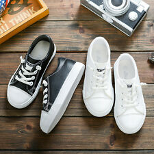 New Unisex Kids Boys Girls Teens Shoes Trainers Fitness Sports Shoes White Black
