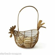 COUNTRY VINTAGE CHIC WIRE EGG BASKET HOLDER RUSTIC STORAGE SHAPE OF HEN CHICKEN