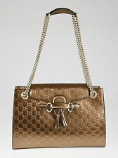 Gucci Bronze Guccissima Patent Leather Emily Original Chain Large Shoulder Bag