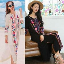 Mexican Ethnic Boho Embroidered Hippie Women Flower Long Maxi Loose Beach Dress