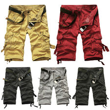 Mens Chic Military Army Combat Shorts Cargo Work Pants Baggy Cropped Trousers