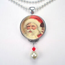 "CHRISTMAS SANTA CLAUS ""VINTAGE CHARM"" SILVER OR BRONZE ART PENDANT NECKLACE"