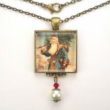 SANTA CLAUS CHRISTMAS TREE 'VINTAGE CHARM' BRONZE OR SILVER ART PENDANT NECKLACE