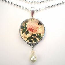 "PINK ROSE FLOWER ""VINTAGE CHARM"" SILVER OR BRONZE ART GLASS PENDANT NECKLACE"