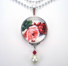 RED & PINK ROSE FLOWER LOVE VINTAGE CHARM SILVER OR BRONZE ART PENDANT NECKLACE
